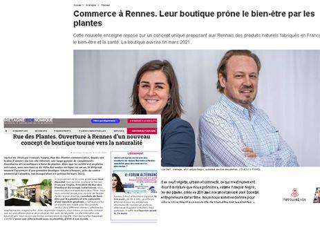 Article de Ouest France pour la boutique à rennes